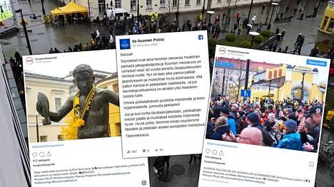 Kuopiolaiset juhlivat torilla KuPSin mestaruutta.