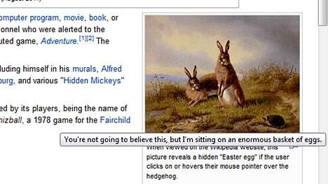 Wikipedian pääsiäismuna-artikkelissa on pääsiäismuna.