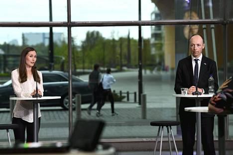Sdp:n puheenjohtaja Sanna Marin ja perussuomalaisten puheenjohtaja Jussi Halla-aho ottivat yhteen tänään tiistaina IS:n Vaalimessut verkossa- tapahtumassa.