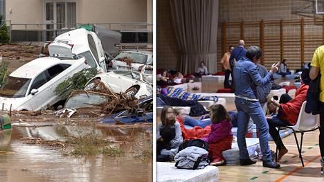 Tulvat kylvivät tuhoa Mallorcalla. Tulvaa pakoon päässeet majoittuivat paikallisessa koulussa.