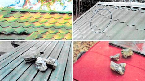 Omistaja kuvasi talonsa pihasta isoja kivenmurikoita. Oikeuden ratkaisun mukaan kivet eivät olleet lentäneet katolle.