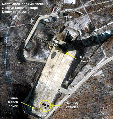 Satelliittikuva näyttää Pohjois-Korean raketin laukaisupaikan.