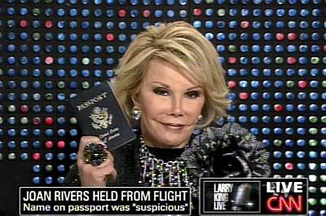 Joan Rivers tuomittiin epäilyttäväksi Costa Ricassa.