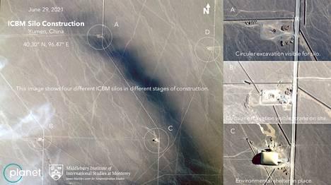 Satelliittikuvissa vaikuttaa näkyvän neljä eri rakennusvaiheissa olevaa ohjussiiloa.