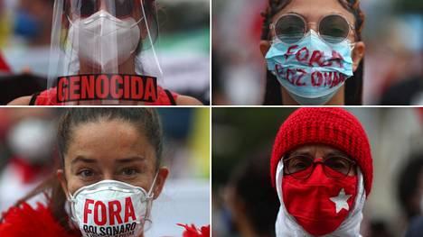 He protestoivat Brasilian presidentti Jair Bolsonaron koronalinjaa vastaan Rio de Janeirossa viime viikonloppuna.