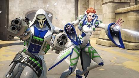 Overwatch League -joukkueilla on pelissä omien väritysten mukaisia hahmojen ulkoasuja. Kuvassa kaikista pelaajista luopuneen Titansin ulkoasuja.