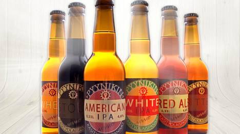 Esimerkkituotteita Pyynikin käsityöläispanimon oluista.