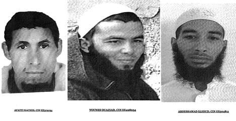 Marokon poliisi julkaisi kuvat kolmesta epäillystä, jotka saatiin torstaina kiinni. Ensimmäinen epäilty otettiin kiinni tiistaina Marrakechissa.