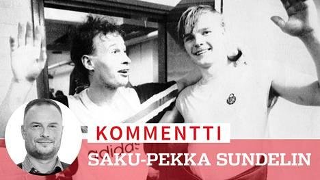 Lukon historian suurpelaajat Jarmo Myllys ja Jari Torkki ilakoivat seuran edellisestä finaalipaikasta 1988. Tappara voitti silloin mestaruuden raumalaisten harmiksi.