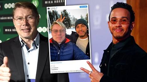 Mestarit Lapissa – Mika Häkkinen hyvän mielen onnittelukuvassa Lewis Hamiltonin kanssa