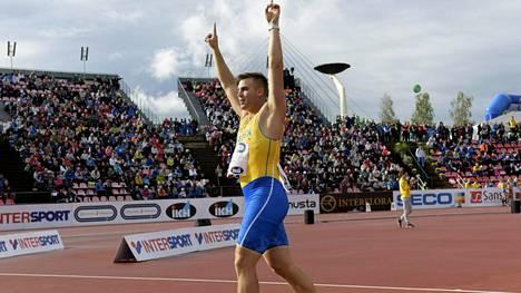 Kim Amb voitti Ruotsi-ottelun keihäskisan.