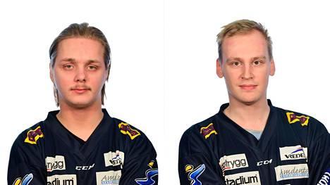 """Paul """"PleeMaker"""" Arontie (vasemmalla) ja Joonas """"SUPERVIRTA"""" Virta pelaavat änärin 6vs6-pelitilaa Linköping HC Esport -joukkueessa. Molemmat etenivät nettikarsinnoista jatkoon."""