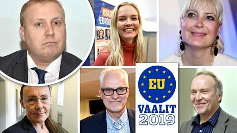 Taloustutkimuksen tutkimuspäällikkö Juho Rahkonen (vasen ylä) korostaa, että eurovaalit ovat eri asia kuin eduskuntavaalit. Europarlamenttiin on ehdolla mm. Aura Salla (kok), Laura Huhtasaari (ps), Pirkko Ruohonen-Lerner (ps), Petri Sarvamaa (kok) ja Teuvo Hakkarainen (ps).
