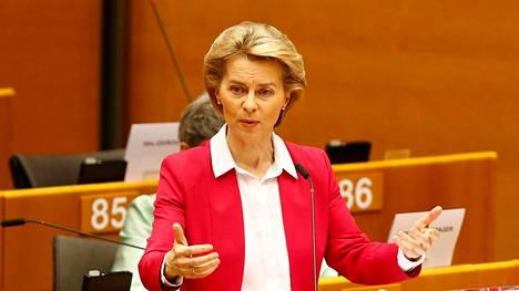 EU-komission puheenjohtaja Ursula von der Leyen puhui Brysselissä 27. toukokuuta 2020.