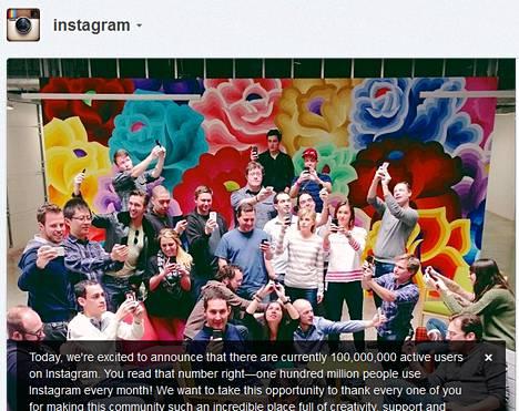 Instagram on lisännyt satoja miljoonia käyttäjiä nopeassa tahdissa. Sadan miljoonan raja meni rikki helmikuussa 2013.