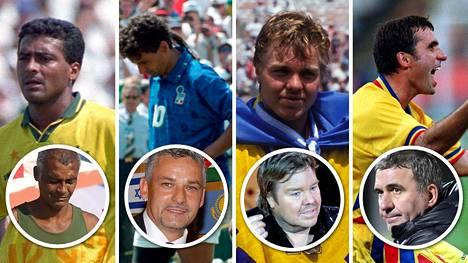 Romario (vas.), Roberto Baggio, Tomas Brolin ja Gheorghe Hagi säväyttivät jalkapallon MM-kisoissa kesällä 1994.