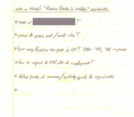 Maria Butinan muistilappu, Yhdysvaltain viranomaisten mukaan.