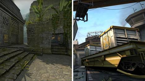 Ancient-kartta (vasemmalla) korvaa yllättäen Trainin, joka on pitkään ollut osa CS-turnausten karttavalikoimaa.