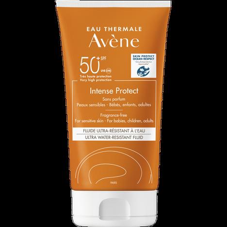 Avènen laaja-alainen aurinkosuoja on suunniteltu kaikkein herkin iho mielessä. Voide imeytyy ihoon muutamassa sekunnissa. Avéne Intense Protect SPF50+ -aurinkovoide, 22,80 € / 150 ml.