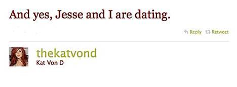 Kat Von D:n tunnustus Twitterissä.