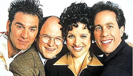 Seinfeld-sarjan tähdet Michael Richards, Jason Alexander, Julia Louis-Dreyfus ja Jerry Seinfeld.