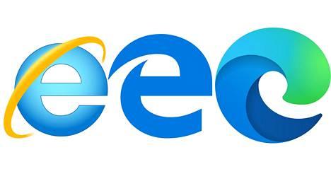 Vasemmalta oikealle: Internet Explorer, Edge ja uusittu Edge.