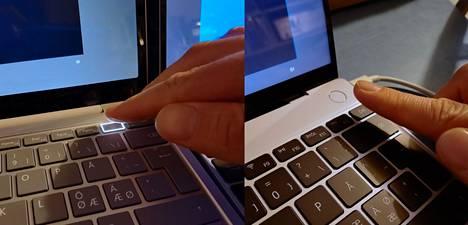 Molemmat valmistajat ovat laittaneet sormenjälkilukijansa virtapainikkeeseen. Surfacessa se on näppäimistön ylärivissä, Matebookissa näppäimistön yläpuolella.