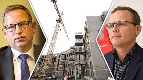 Rakennustyömailla on Rakennusliiton Matti Harjuniemen (oik.) mukaan jo nykyisin keskimääräistä enemmän tartuntoja. Testien tekeminen rajalla on yksi mahdollinen keino tartuntojen leviämisen estämiseksi, sanoo Rakennusteollisuus RT ry:n toimitusjohtaja Aleksi Randell (vas.).