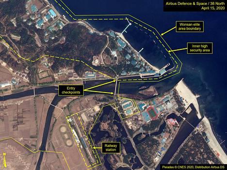 Satelliittikuva Wonsanin lomanviettopaikasta jossa Kimin uskotaan oleilevan.