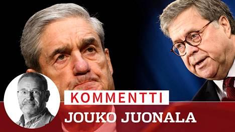 Oikeusministeri William Barrin (oik.) nurinkurinen viestintästrategia Muellerin (vas.) raportista on hyvin taitavaa, kirjoittaa erikoisotimittaja Jouko Juonala.