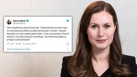 Ilman duunareita ei Suomi selviäisi, Sanna Marin sanoo Twitterissä.