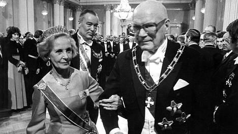 Ruotsin prinsessa Lilian ja presidentti Kekkonen vuonna 1977.