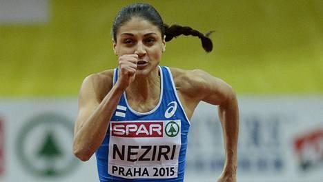 Nooralotta Neziri vauhdissa EM-kisojen alkuerässä.