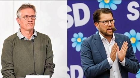 Ruotsin valtionepidemiologi Anders Tegnell ja oikestolaisen populistipuolueen johtaja Jimmie Åkesson.