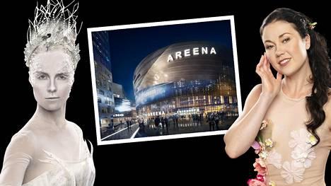 Entiset taitoluistelutähdet Kiira Korpi ja Laura Lepistö pääsevät korkkaamaan tulevan jättiareenan jään yleisön edessä tammikuussa 2022.