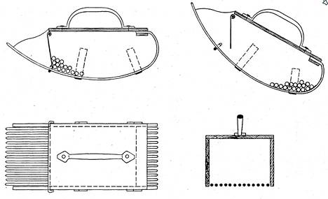 """Ruotsalaisen Anders Wikstrandin keksintö """"bärplockningsapparat"""" - """"marjojenpoimimiskoje"""" on tiettävästi vanhin Suomessa patentoitu marjapoimurikeksintö."""