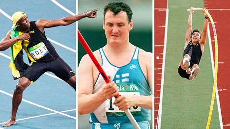 Usain Bolt (vas.), Kimmo Kinnunen ja Armand Duplantis ovat kaikki lapsuudessaan pitäneet hallussaan epävirallista maailmanennätystä.