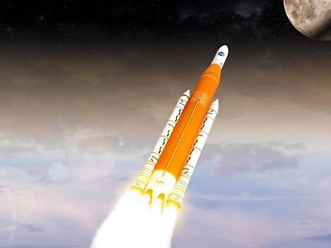 Space Launch System -kantoraketin kehitystyö ei ole edistynyt toivotulla tavalla. Havainnekuva.