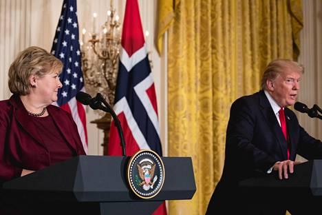 Presidentti Donald Trump ja Norjan pääministeri Erna Solberg tapasivat keskiviikkona Washingtonissa.