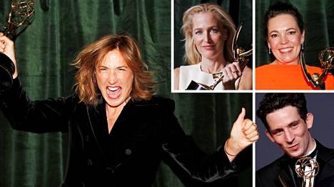 The Crown -sarjasta palkittiin mm. ohjaaja Jessica Hobbs (vas.), Gillian Anderson (ylh. vas.), Olivia Colman ja Josh O'Connor.