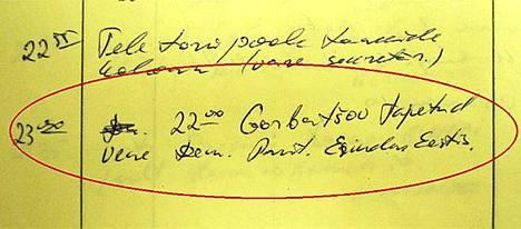 Muistiinpano Gorbatshovin kuolemasta oli kirjattu 19.8. päivän kohdalle rajavartioston päivystän päiväkirjaan