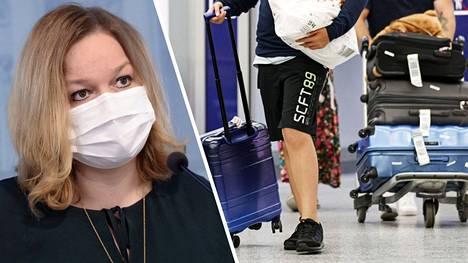 Perhe- ja peruspalveluministeri Krista Kiuru  (sd) ja sosiaali- ja terveysministeriö ovat esittämässä maahantulorajoitusten selvää tiukennusta. Matkustajia Helsinki-Vantaan lentoasemalla 11. elokuuta 2020.