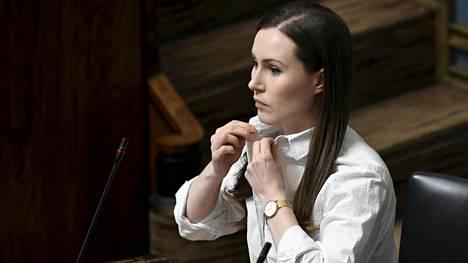 Pääministeri Sanna Marin (sd) eduskunnan suullisella kyselytunnilla torstaina.