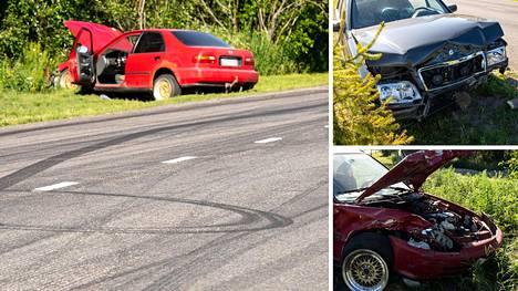 Autot ajoivat nokkakolarin. Toisen auton kyydissä oli viisi henkilöä ja toisen kyydissä kolme henkilöä.