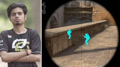 """Nikhil """"forsaken"""" Kumawat saattaa olla maailman tunnetuin CS-huijari. Yhtä hänen huijaustaan koskevaa videota on katsottu yli 7 miljoonaa kertaa. Monet suosituista huijausohjelmista paljastavat vastustajapelaajat seinien läpi. Kuva ei liity Kumawatin tapaukseen."""