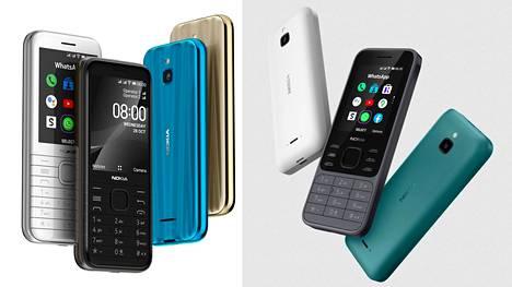 Nokia 8000 4G (vasemmalla) ja Nokia 6300 4G ovat vanhojen Nokia-designien uusioversioita.