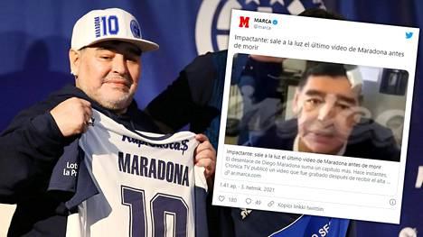 Diego Maradona lähettää viimeisellä videollaan terveisiä kohulääkäri Leopoldo Luquelle.