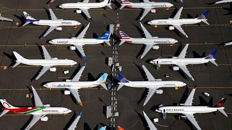 Lentokieltoon asetettuja 737-MAX -koneita.