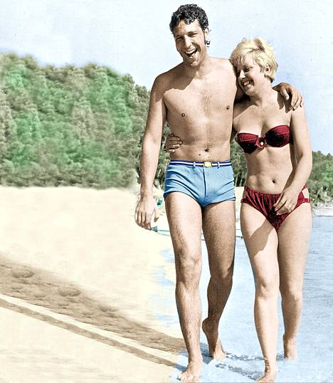 Tom Jones ja Linda lomailivat Mallorcalla vuonna 1966.