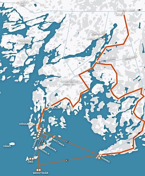 Rannikkoreitti on kaiken kaikkiaan 200 kilometriä, ja tästä noin 70 kilometriä poljetaan Kemiönsaarella.